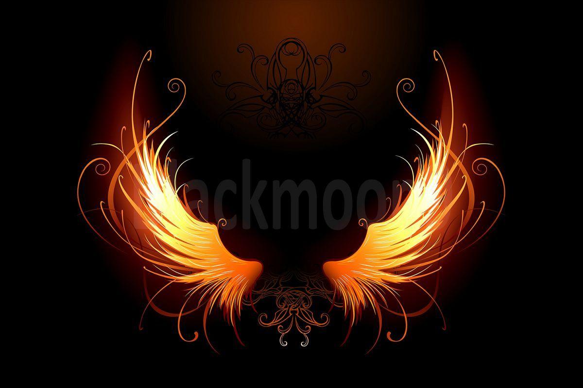 Fiery Wings 30208 Illustrations Design Bundles Gambar Sayap Ilustrasi Gambar Menakjubkan