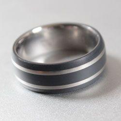 black titanium and teflon black titanium rings With teflon wedding rings