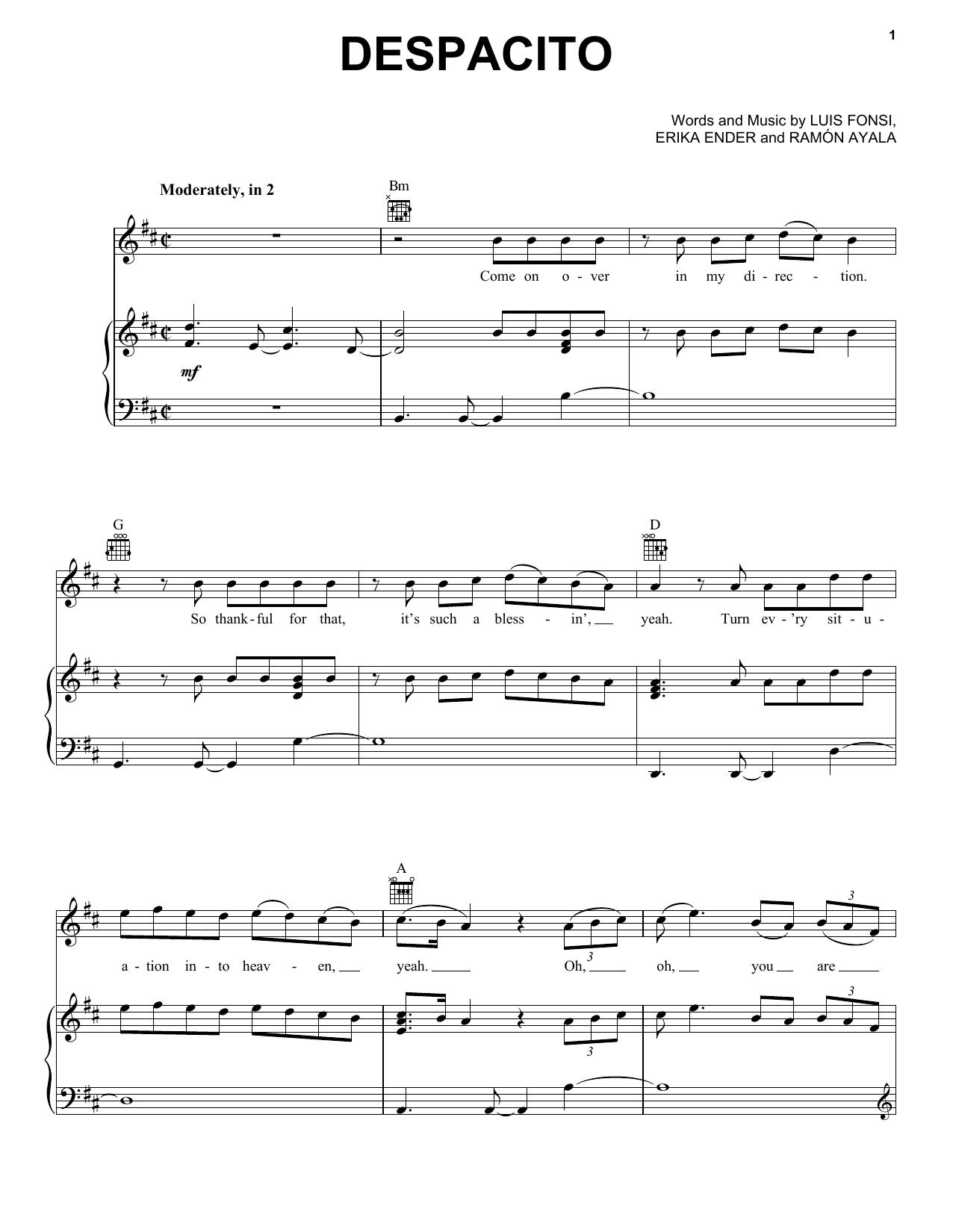 Luis Fonsi Daddy Yankee Feat Justin Bieber Despacito Sheet Music Notes Chords Flute Sheet Music Music Notes Violin Sheet Music