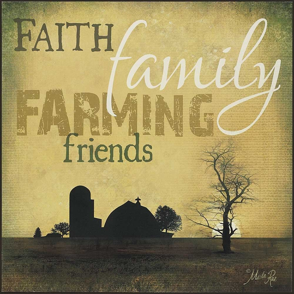 The Faith, Family, Farming, Friends Plaque by Marla Rae depicts the ...