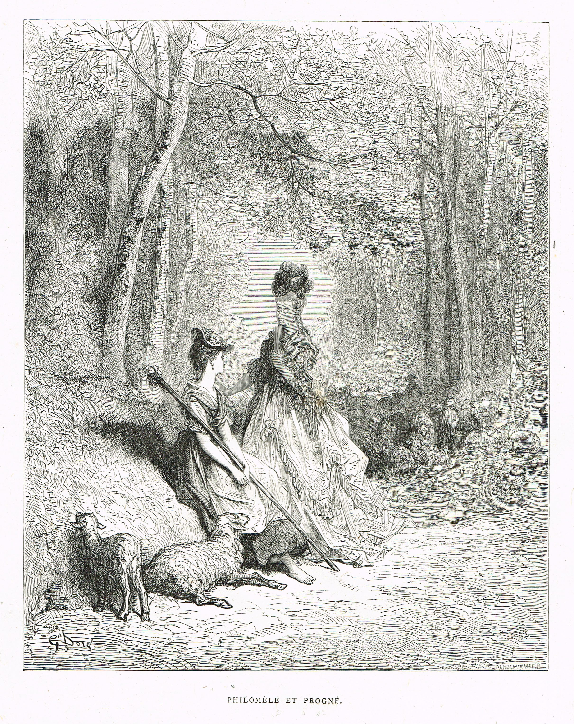 Philomele Et Progne Fable De Jean De La Fontaine Illustree Par Gustave Dore Mas Estampes Anciennes Mas Antique Prints