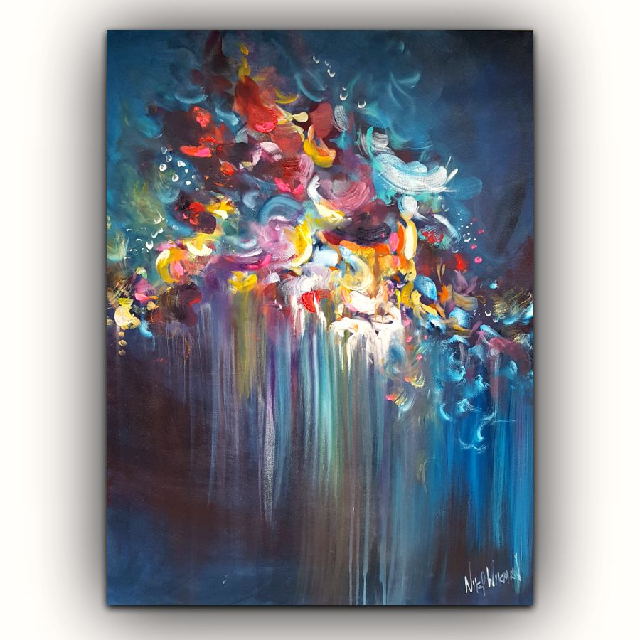 Head Over Heals Abstract Flower Painting On Canvas By