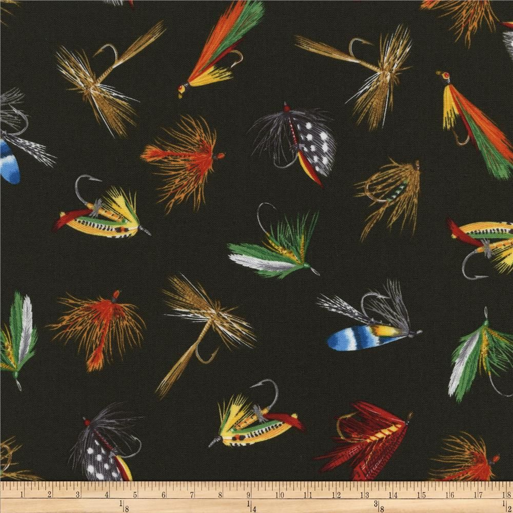 Timeless Treasures Tossed Fishing Fly Lures Loden Green Novelty Fabric Timeless Treasures Printing On Fabric