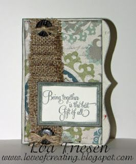 love the way she used the burlap ribbon. paper is avonlea