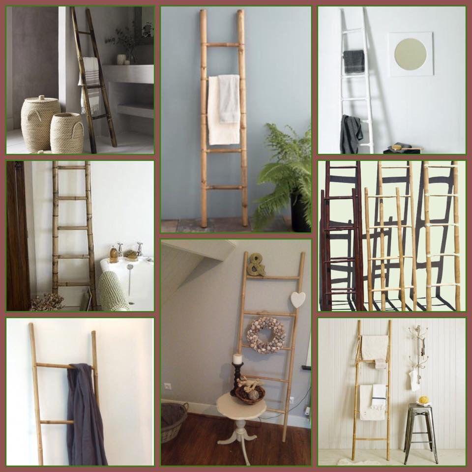 Sfeervolle decoratie ladder van bamboe. In de badkamer gebruik je ...