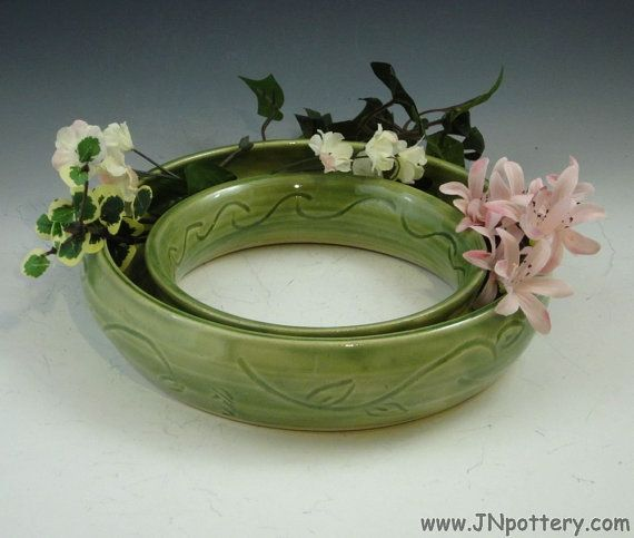 Ceramic Pansy Ring Circle Centerpiece Vase Spring Green With Branch And Leaf Carving V431 Vase Centerpieces Ceramics Pansies