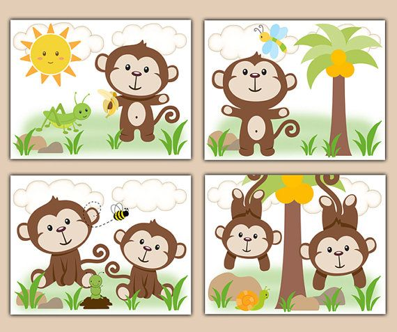 MONKEY NURSERY PRINTS Decor Wall Art Safari Animal Baby Boy Room Shower  Gift Decorations Kids Bathroom Childrens Bedroom Hanging Swinging