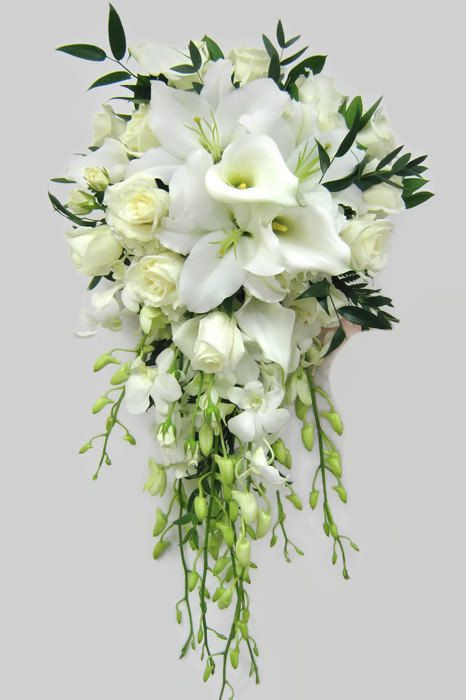 White Calla Lily And Ivory Rose Cascading Teardrop Bridal Bouquet