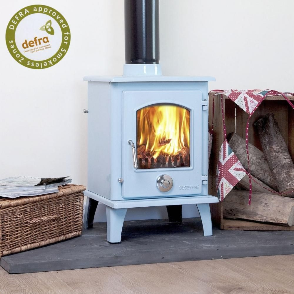 Defra Roved A Blue Enamel Coseyfire Pe Multi Fuel Woodburning Stove 5kw With Secondary Burn