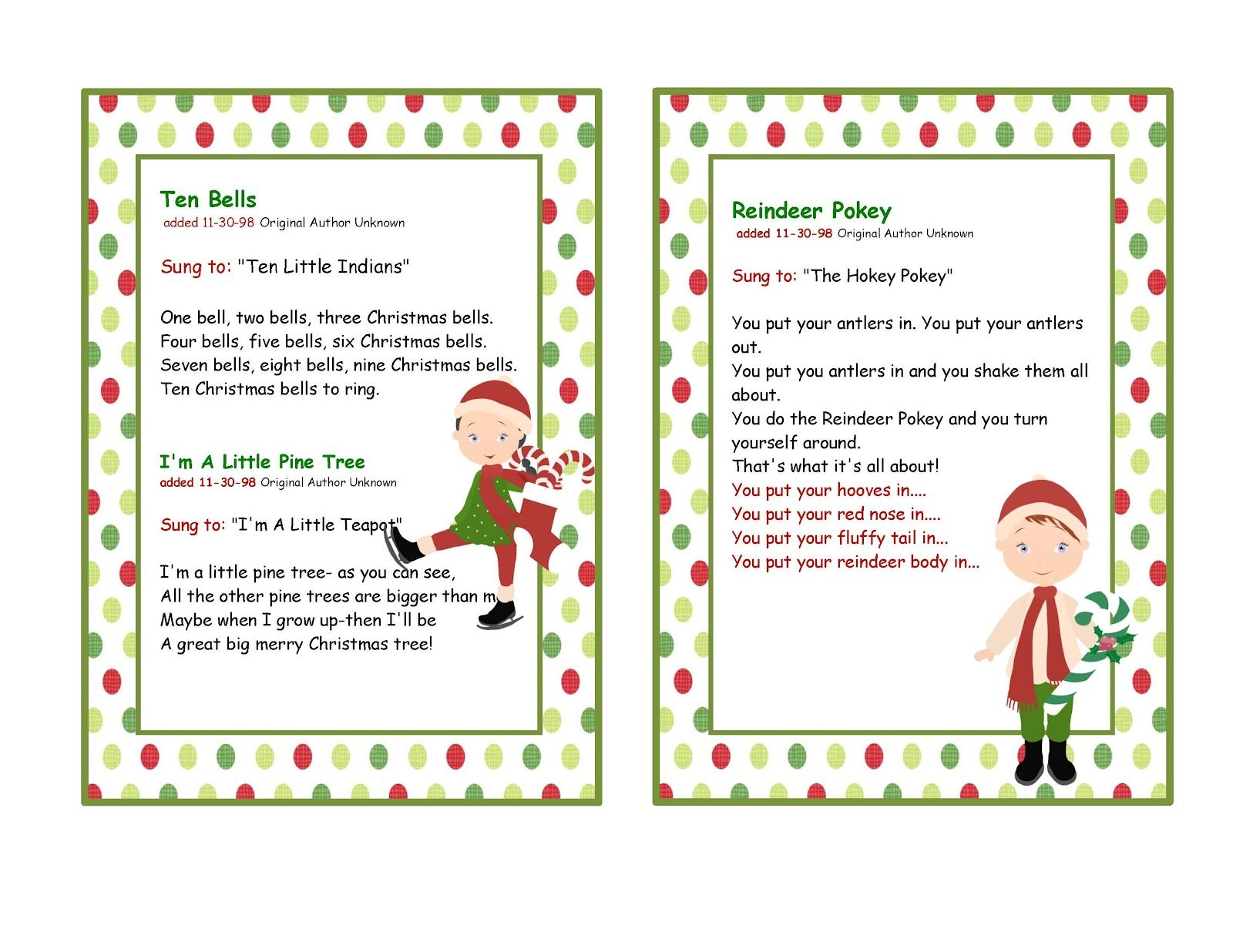 Fun Christmas Songs with Preschoolers...love the reindeer hokey ...