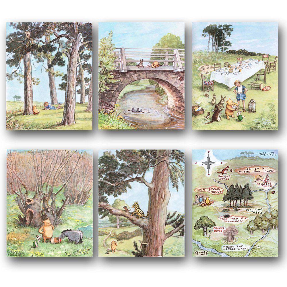 Set Of 6 Classic Winnie The Pooh Art Nursery Wall Decor Baby Room Prints Winnie S Winnie The Pooh Nursery Nursery Wall Decor Girl Vintage Winnie The Pooh