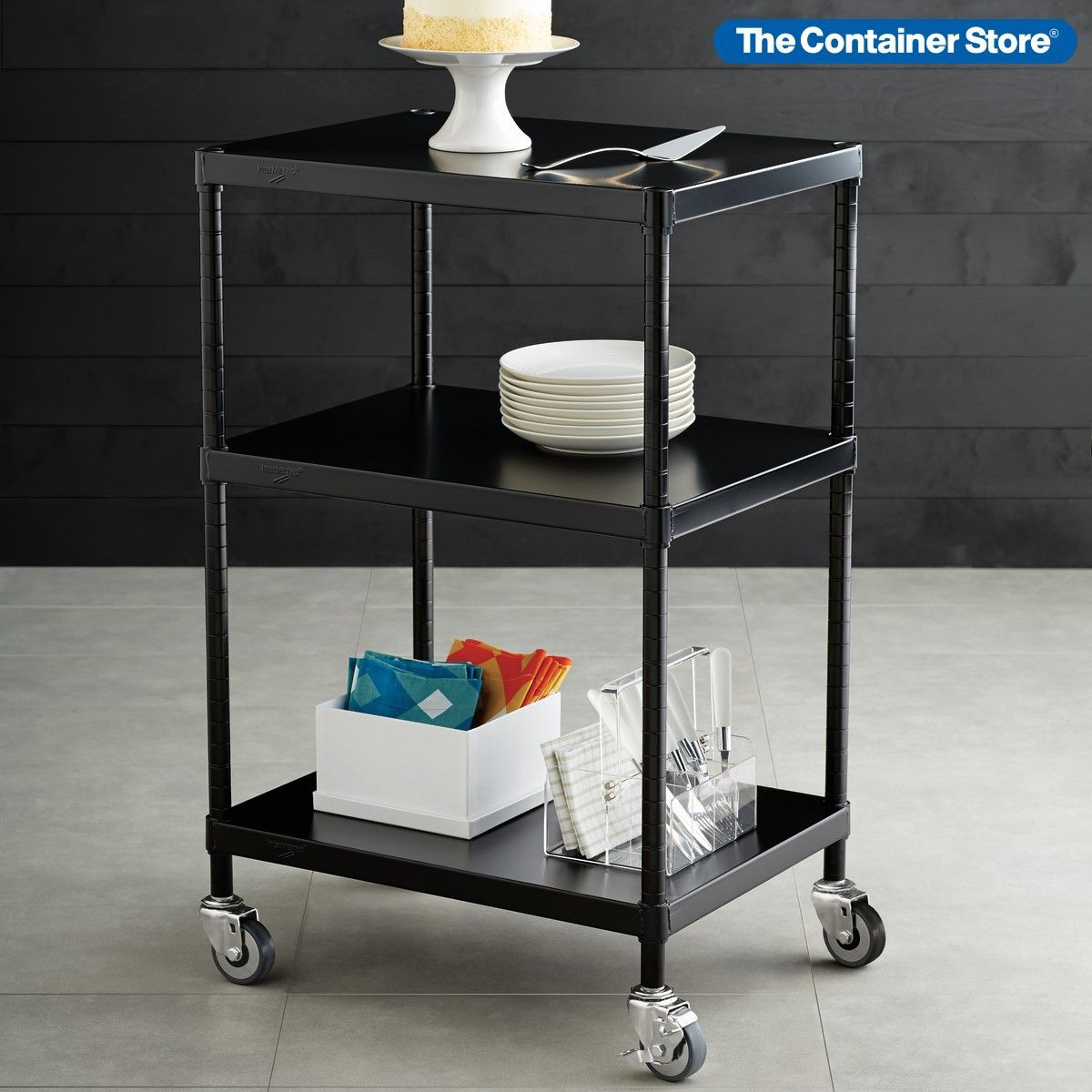 With Heavy Duty Industrial Casters Our Intermetro Shelving Serving Cart Can Transport Everything From A Buffet Set In 2020 Shelves Serving Cart Metal Storage Shelves
