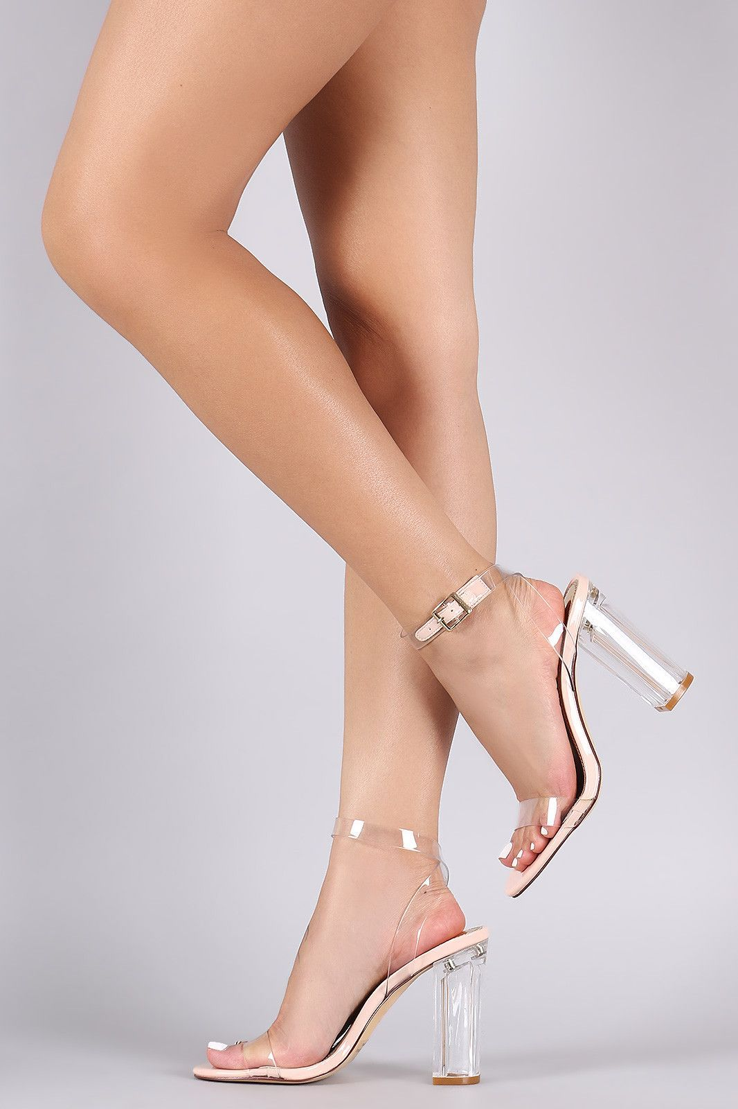 af43dc33686 Liliana Lucite Ankle Strap Open Toe Chunky Heel   Grass   Open toe ...