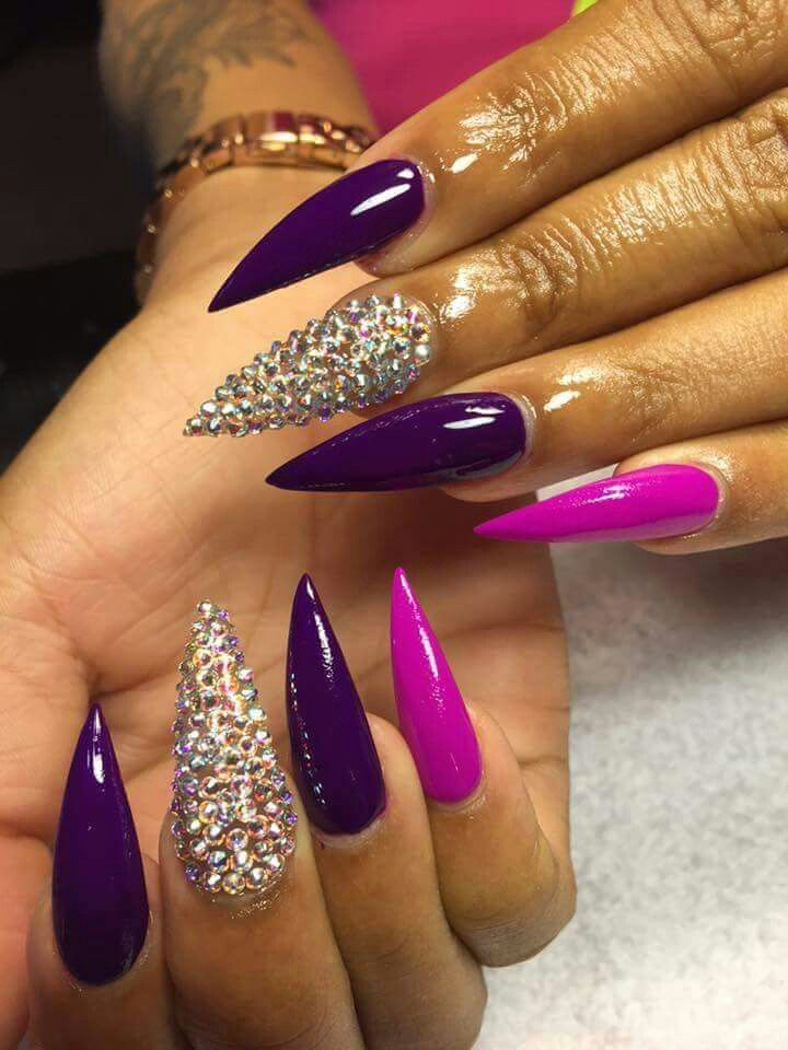 Purple & Magenta Stiletto Shape Acrylic Nails w/ Rhinestones ...