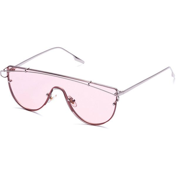 SheIn(sheinside) Pink Clear Lens Metal Frame Curved Sunglasses ($13 ...