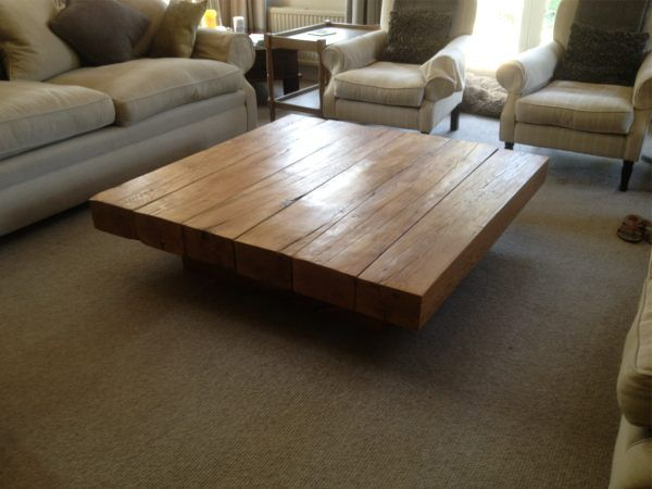 Creative ideas very low and large oak coffee table make for Low coffee table wood