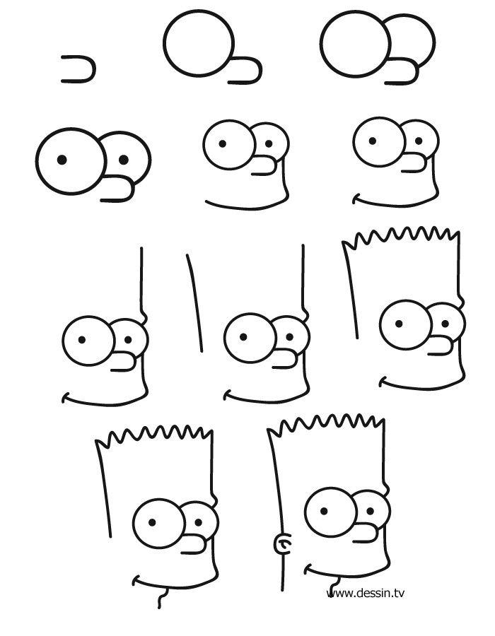Etape Pour Dessiner Bart Simspon School Draw Bd Drawing Tutorial Easy Art Drawings Simple Simpsons Drawings