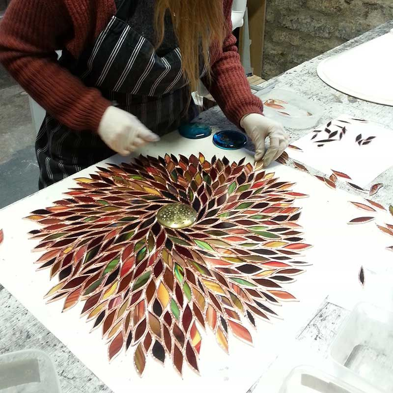 Laying Out Stained Glass Pieces With Copper Foil Lampes