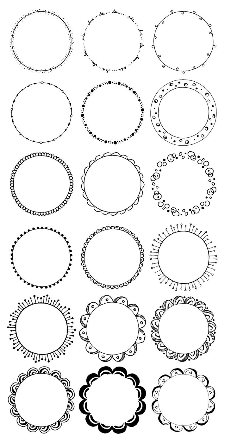 36 Hand Drawn Decorative Round Frames Circle Borders: Floral | Etsy
