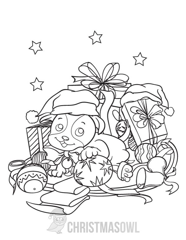 Free Printable Coloring Page Featuring A Puppy Surrounded By Christmas Themed Objects