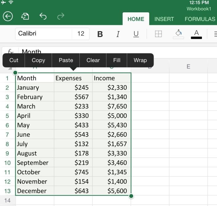 How to Create a Chart in Excel for iPad Microsoft excel