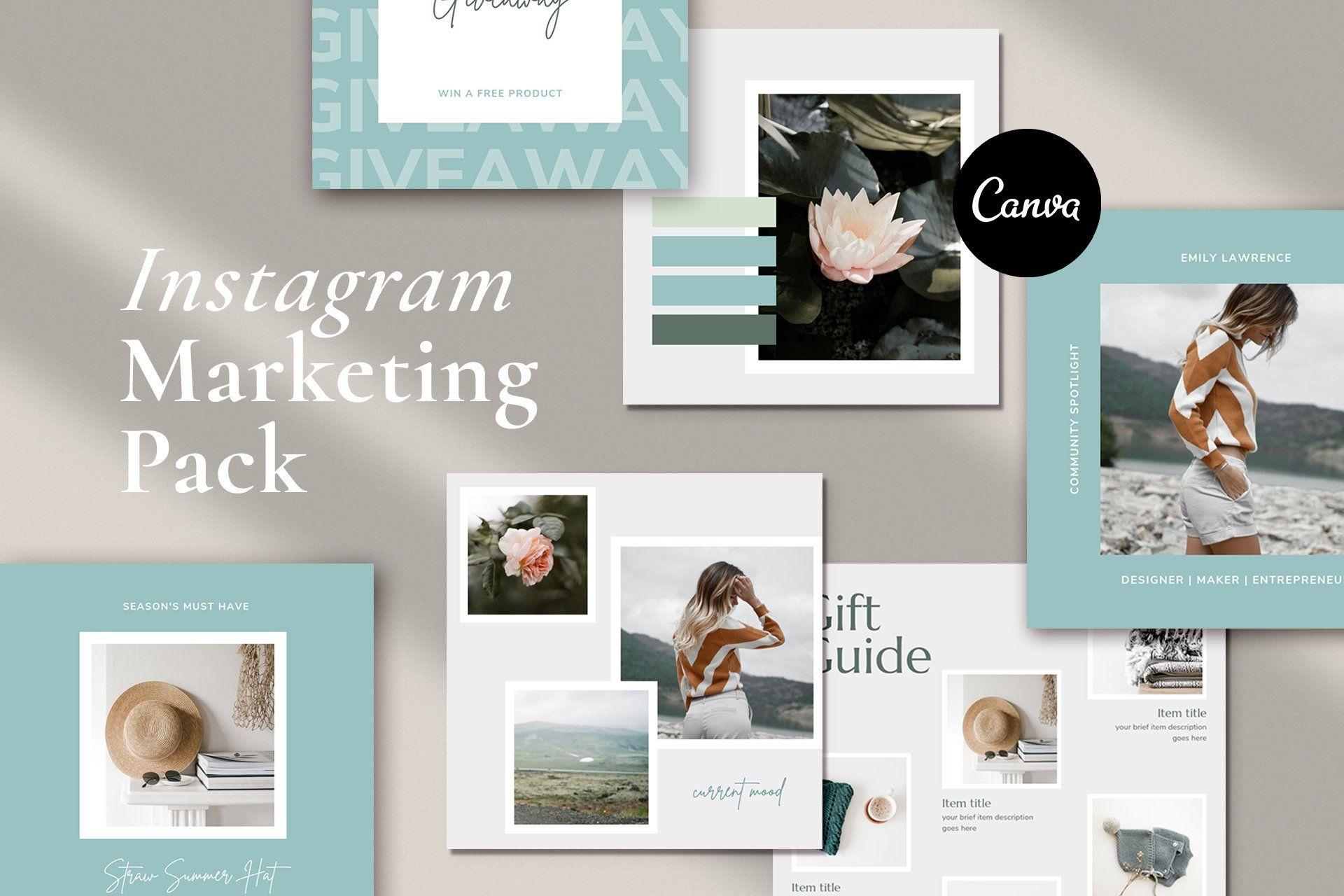 Light blue Instagram marketing template pack for creative