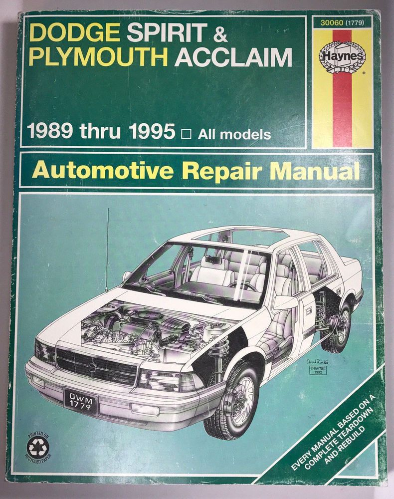 Haynes Repair Manual Dodge Spirit Plymouth Acclaim 1989 Thru 1995 30060 Auto  Repair Manuals, Car