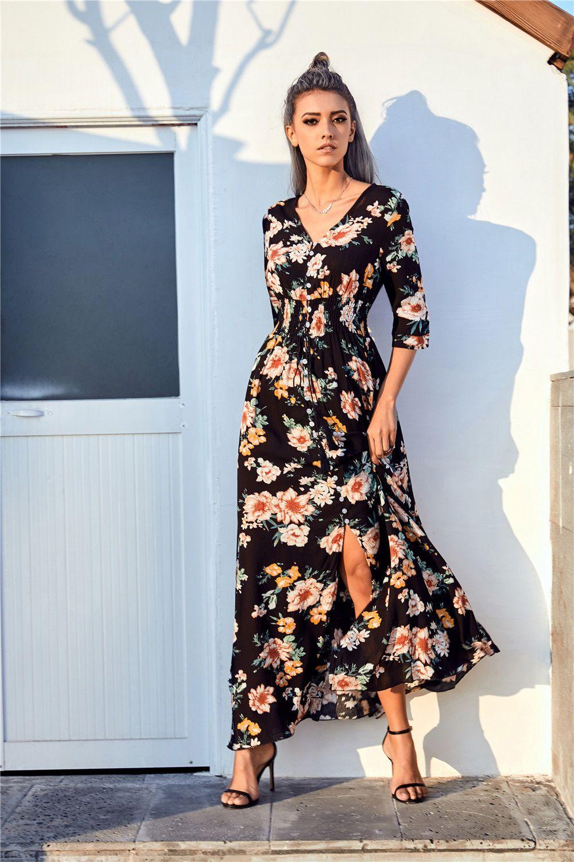Details zu DE Damen Ballkleid Lange Maxikleid Printed V-Neck ...