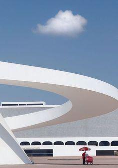 ~ National Museum in Brasilia by Oscar Niemeyer. Modern building swoops