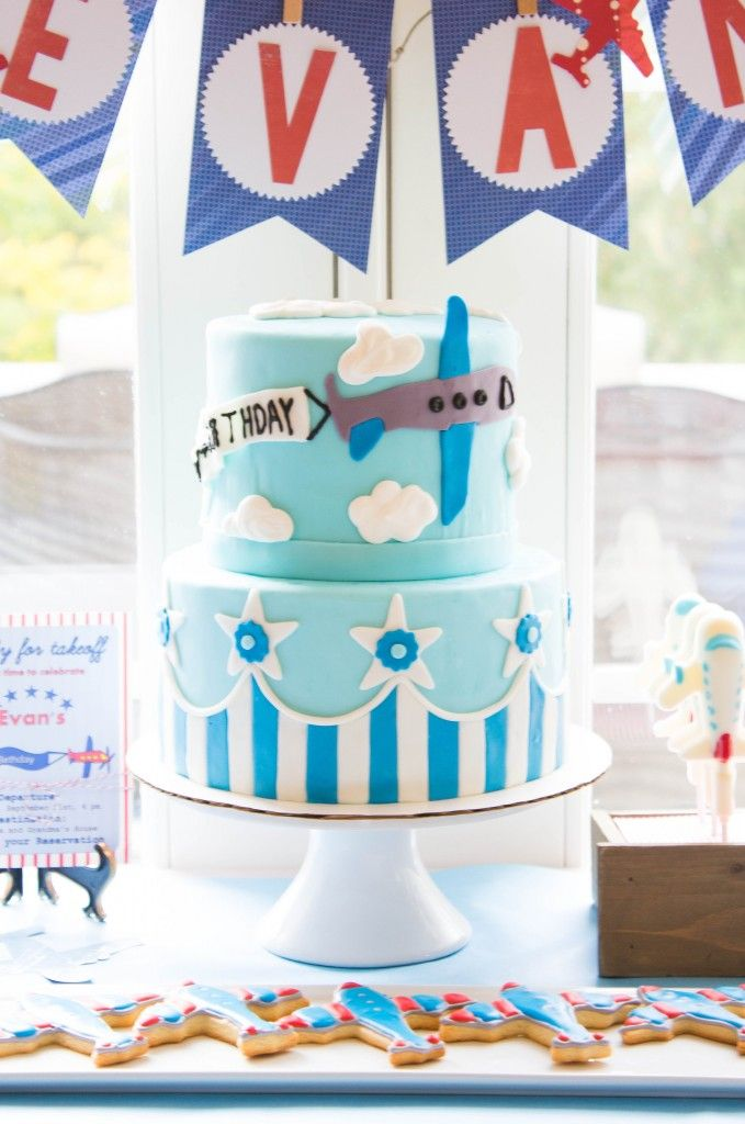 Meadowbrook Home  Darling Blue Airplane birthday cake by Kayley of The Kitchen McCabe