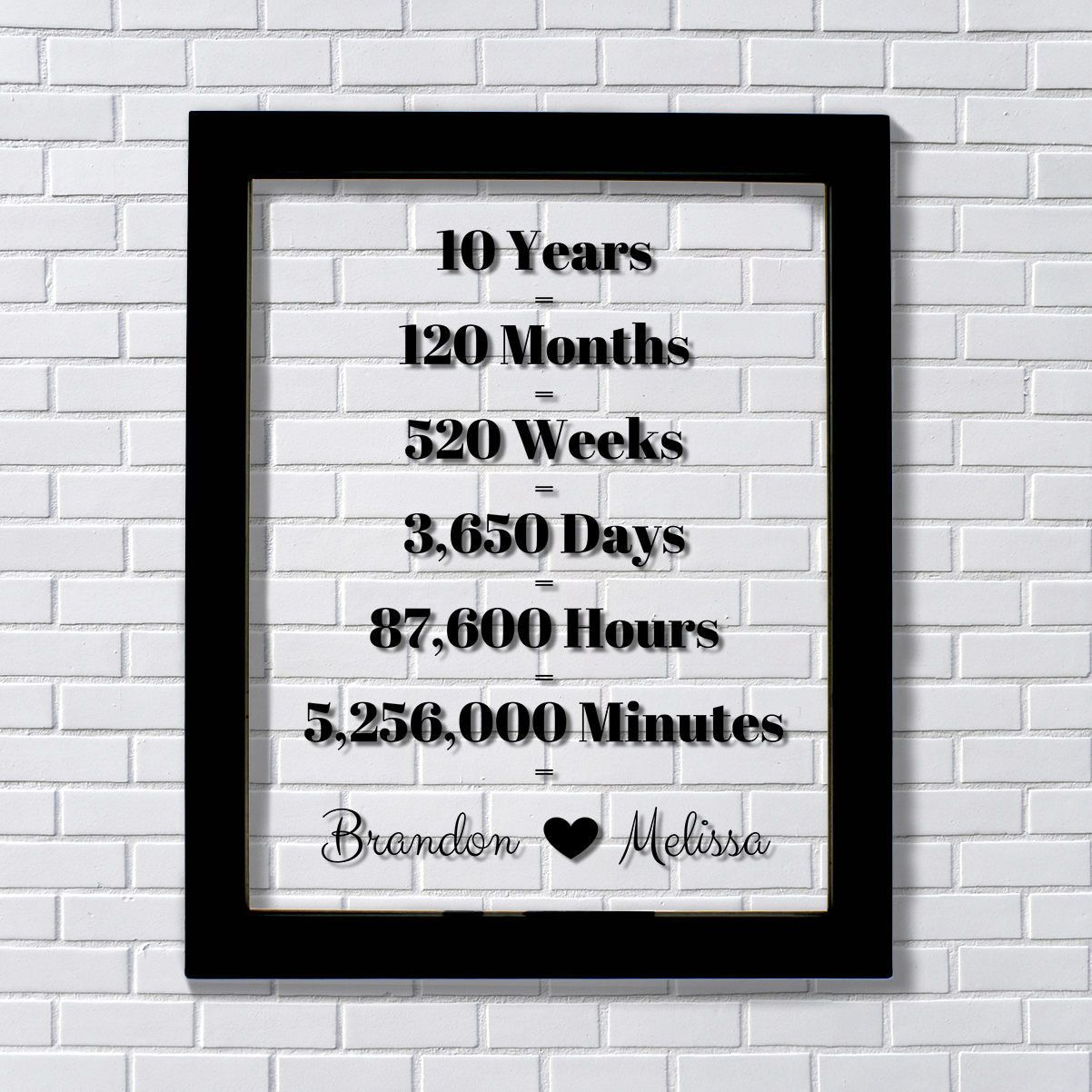 10 Year Anniversary Floating Picture Photo Frame Custom Names Ten Years Gift Months Weeks Day Anniversary Frame Four Year Anniversary 10 Year Anniversary