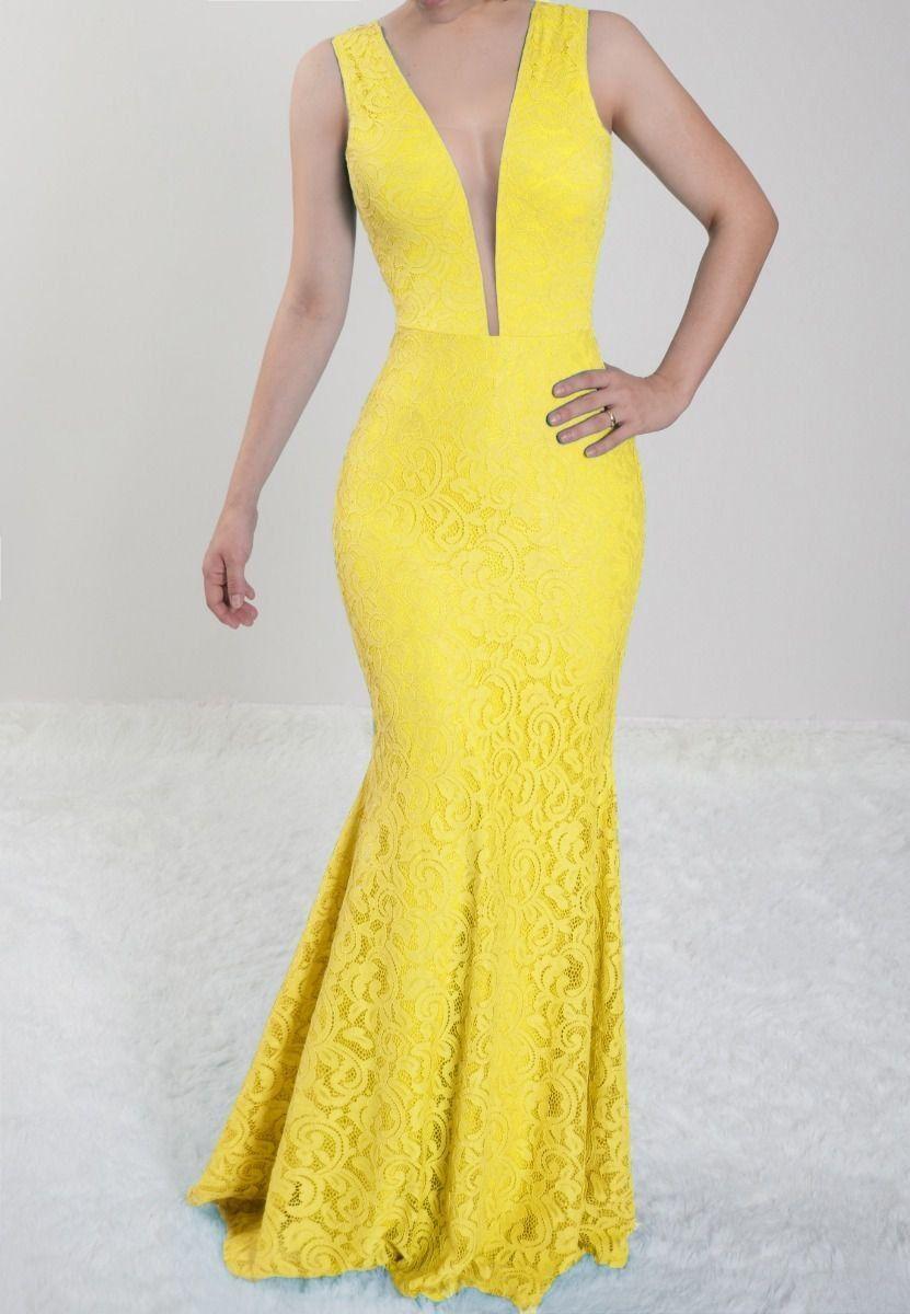 63cc5ca57 Vestido Amarelo Longo Festa Madrinha de Casamento em renda em 2019 ...