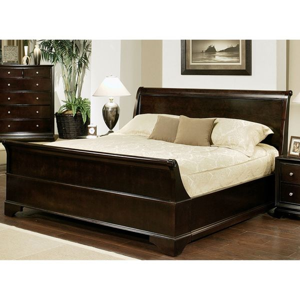 Abbyson Living Kingston Espresso Sleigh King-size Bed - Overstock ...