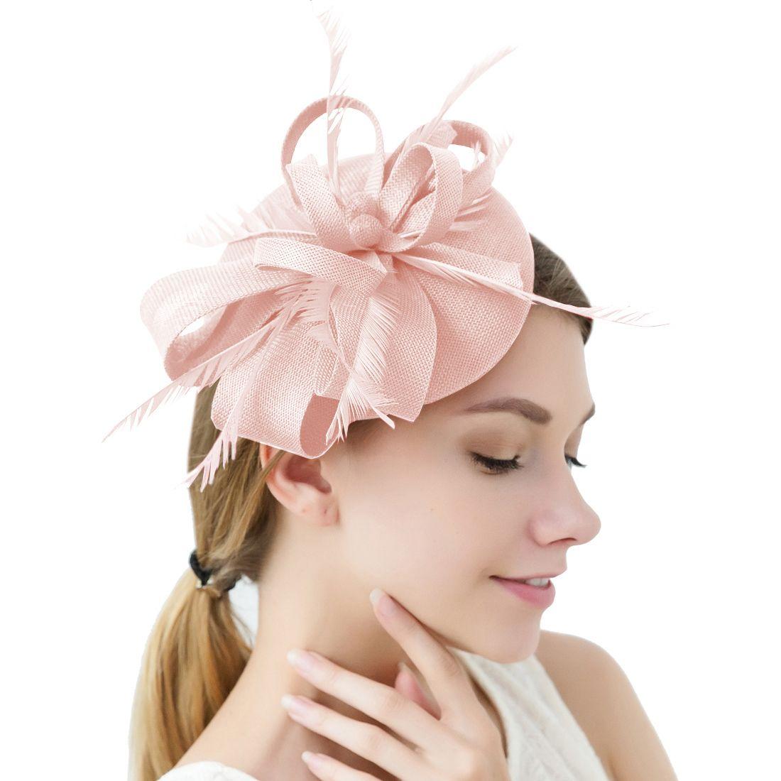 Church Wedding Derby Party Cocktail Fascinator Hat Headband Feather Hair Clip