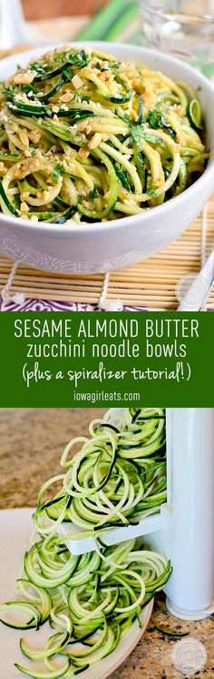 Sesame Almond Butter Zucchini Noodle Bowls are a veggie-based spin on peanut noodles. Super quick, fresh, and satisfying! #paleo #grainfree #glutenfree