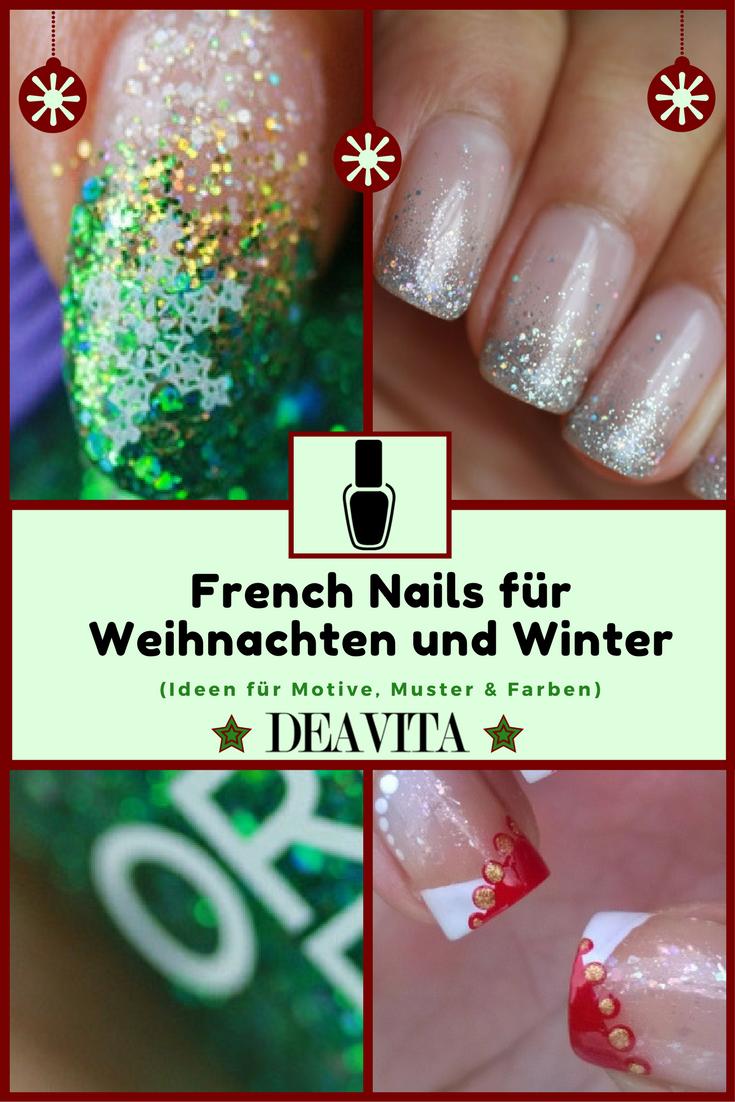 Famoso Navidad Uñas De Manicura Francés Ornamento - Ideas Para ...