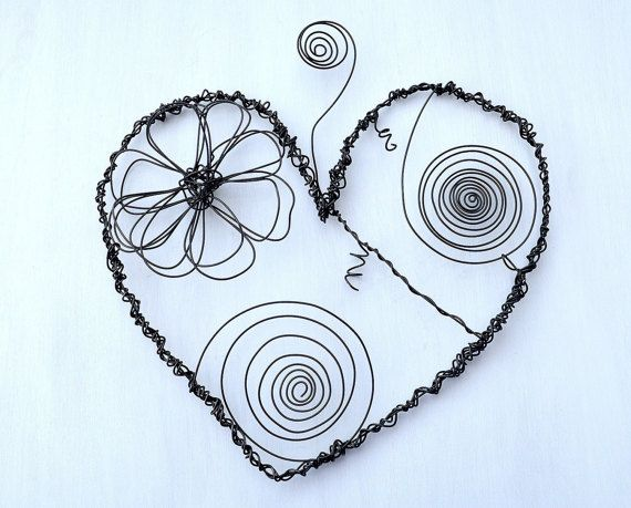 Metal Heart - Wall Accents - I love you - Wedding Gift - Metal Wall ...