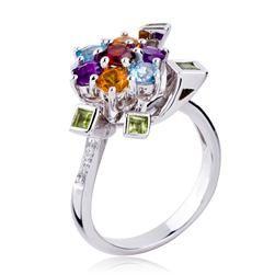 92ac68fe04a05 Fantástico anel de ouro branco com pedras brasileiras e diamantes fancy.