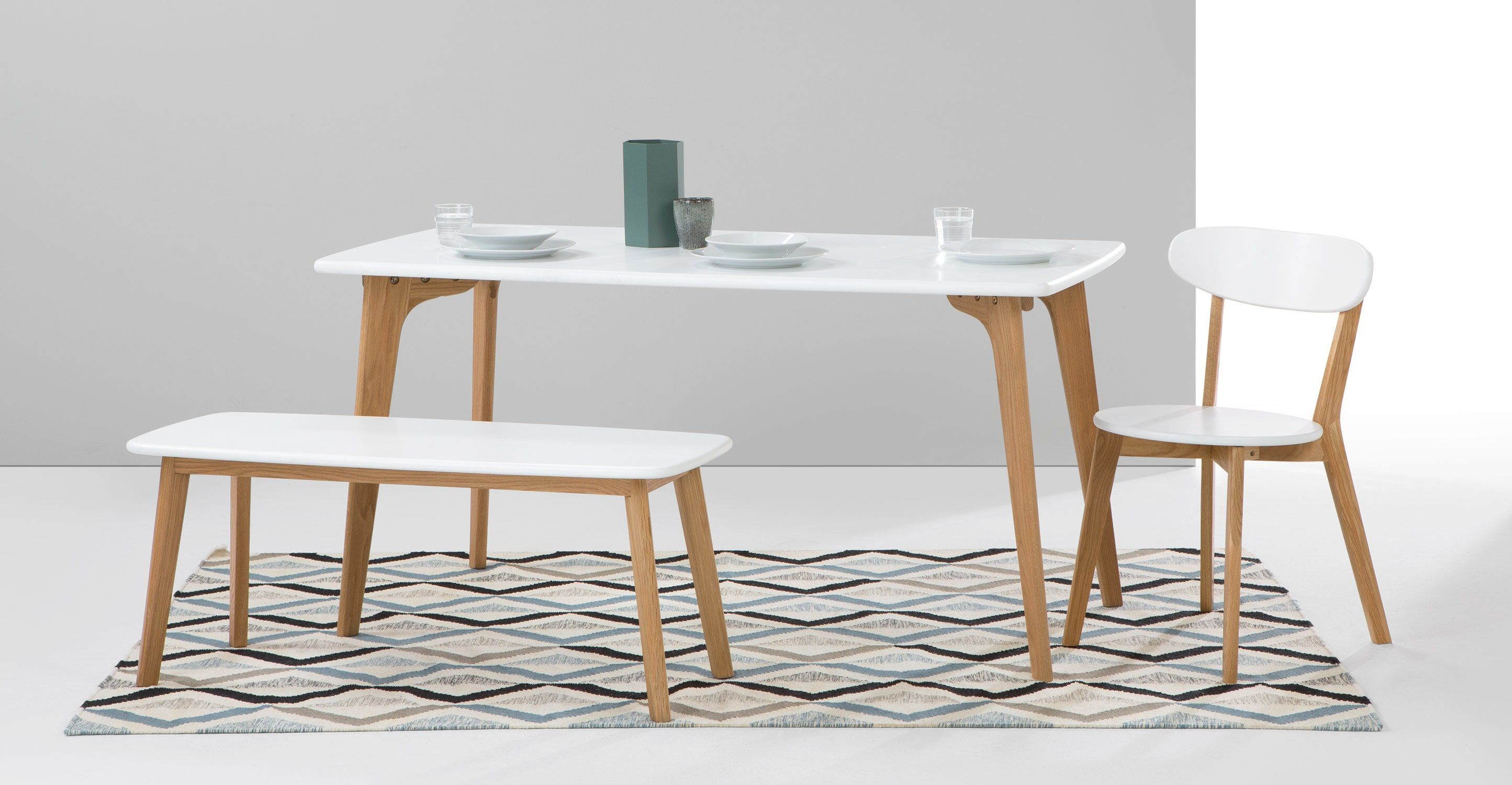 Fjord essgruppe mit 2 bnken eiche und wei bench set bench and fjord essgruppe mit 2 bnken eiche und wei made blushesdining chairsdining roomstable and bench setrectangle watchthetrailerfo