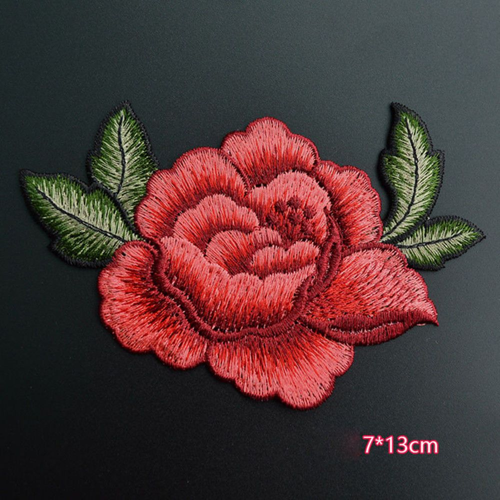 129aud 2 x red rose flower embroidery applique cloth