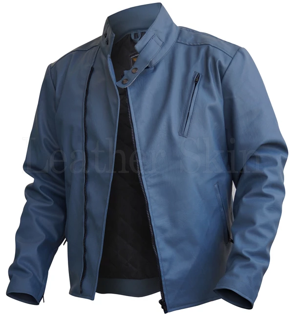 Mens Big And Tall Gray Faux Leather Jacket Jaket