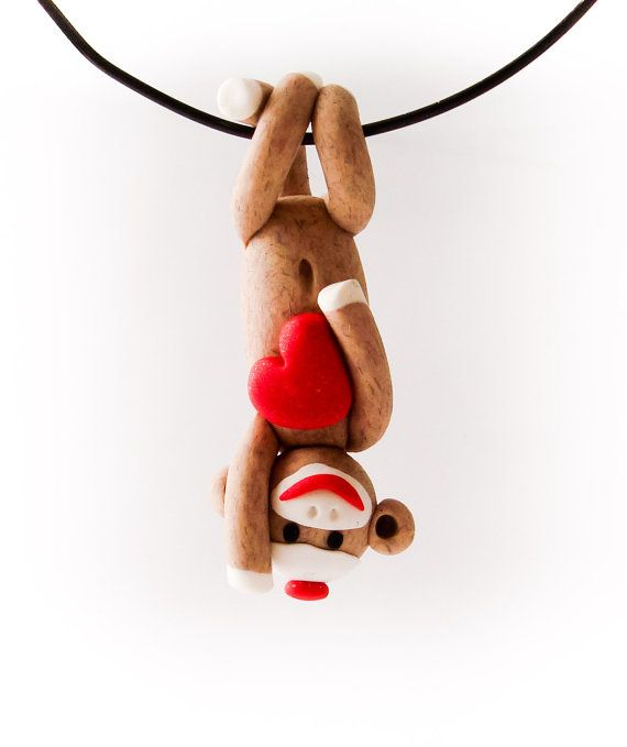 Brown Sock Monkey Pendant Swinging Upside-Down with Valentine's Day Heart