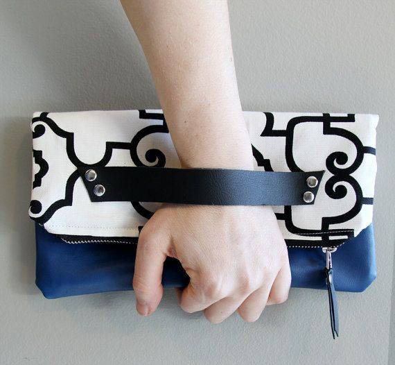 Black and White Clutch with Royal Blue Leather by piprobins, $54.00