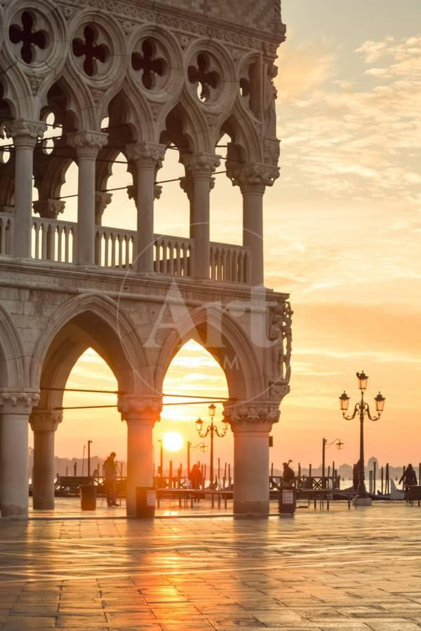 Photo of Italy, Veneto, Venice. Sunrise over Piazzetta San Marco and Doges Palace Photographic Print by Matteo Colombo   Art.com