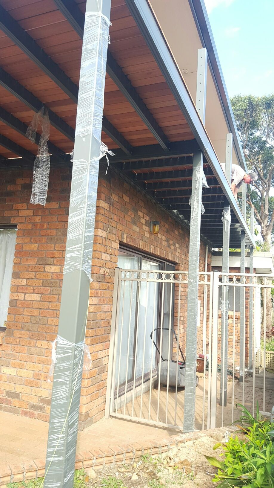 Timber decking over powder coated steel Boxspan deck frame. This ...