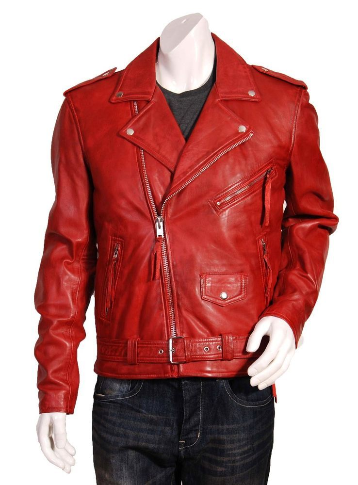 c828aaf13897 New Men's Leather Motorcycle Quilted Jacket Real Lambskin Soft Red Leather  MJ06 #WesternOutfit #Motorcycle