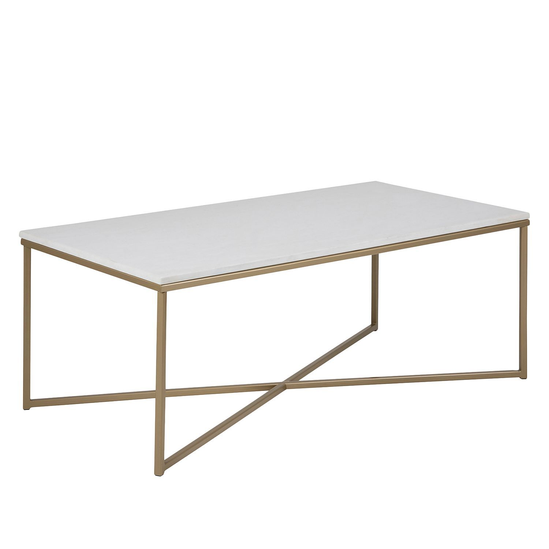 couchtisch katori - marmor / metall - weiß / messing, fredriks ... - Marmor Wohnzimmer Tische