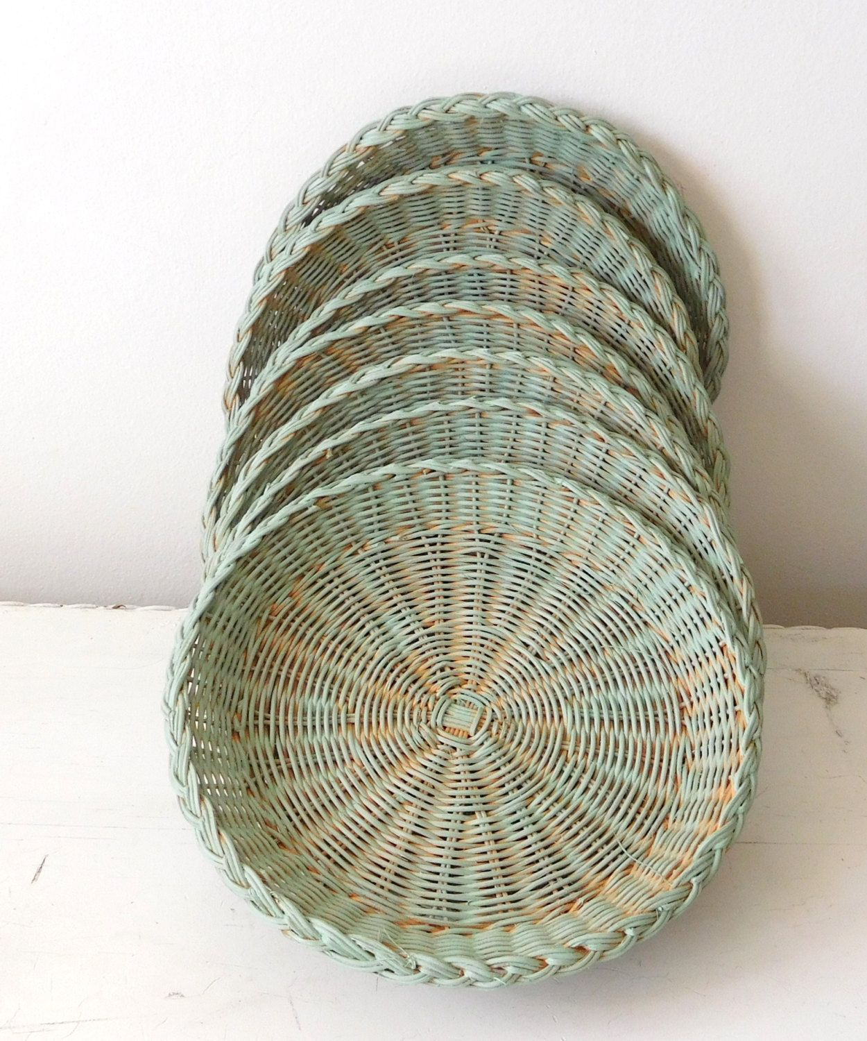 Wicker Paper Plate Holders Patina Painted Washed Picnic Accessory ... Wicker Paper Plate Holders Patina Painted Washed Picnic Accessory & Mesmerizing Wicker Plate Holders Contemporary - Best Image Engine ...