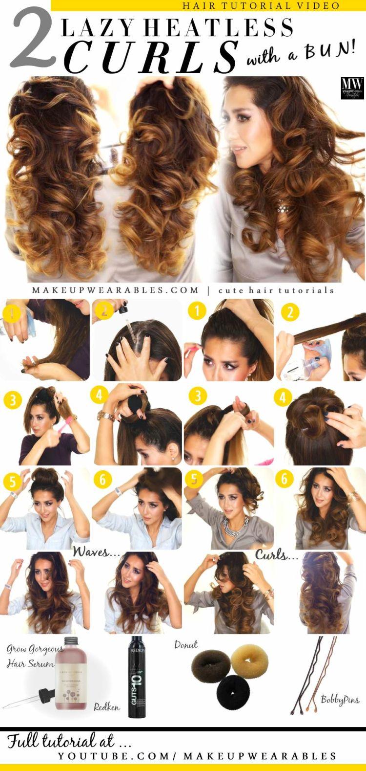 2 Ways To Lazy Heatless Curls Using A Bun Hair Styles Hair Waves Curly Hair Styles