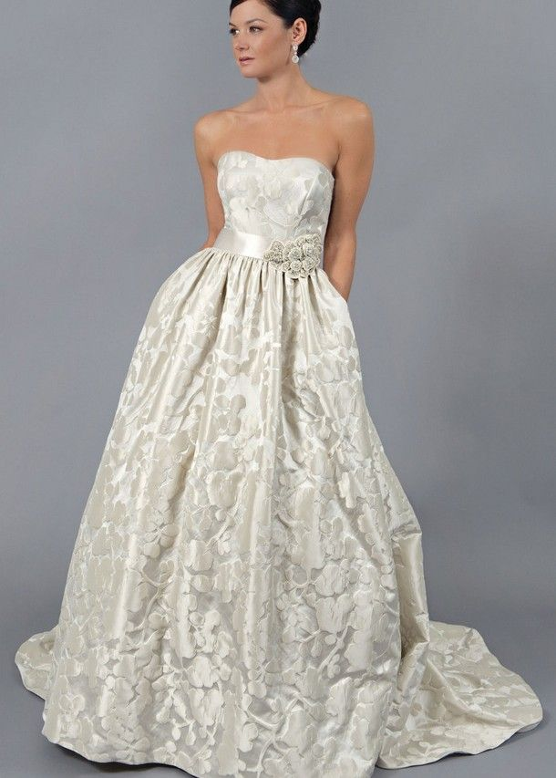 Jacquard Ballgown Wedding Dress With Sweetheart Neckline Jeweled Detail At Waist And